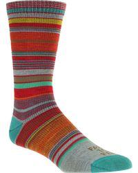 FARM TO FEET Ithaca Multi Stripe Sock - Red
