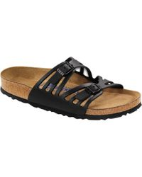 Birkenstock Granada Soft Footbed Leather Narrow Sandal - Black