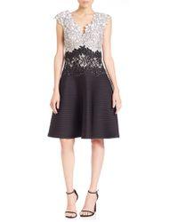 Tadashi Shoji | Appliquéd Lace Scuba Dress | Lyst
