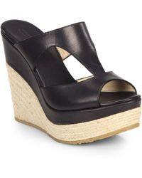 Jimmy Choo Cut-Out Leather Platform Wedge Espadrilles - Lyst