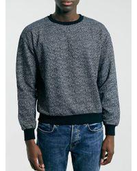 Topman Navy Texture Sweatshirt - Lyst