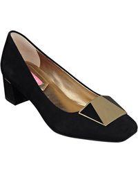 Isaac Mizrahi New York Optique Leather Block-heel Court Shoes - Black