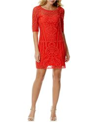 Laundry by Shelli Segal Embroidered Mesh Shift Dress - Lyst