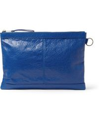 Balenciaga Creased-Leather Pouch - Lyst