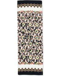 Erdem Long Silk Peabody Wallpaper Floral Scarf Blackwhitemulti - Lyst