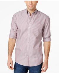 Cutter & Buck - Big And Tall Camano Wrinkle-resistant Striped Shirt - Lyst