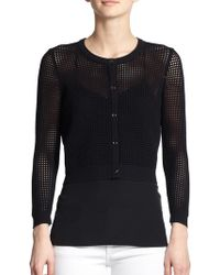 Milly Cropped Perforated Cardigan black - Lyst