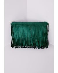 Missguided Tiered Fringed Suedette Clutch Teal - Blue