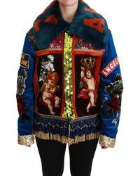 Dolce & Gabbana Multicolour Angel Floral Sequined Coat Jacket