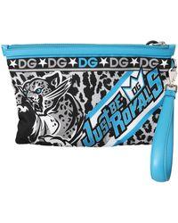 Dolce & Gabbana Multicolour Tiger Wrist Strap S Hand Pouch Toiletry Bag - Blue