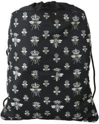 Dolce & Gabbana Black Bee Crown Adjustable Drawstring Nap Sack Bag