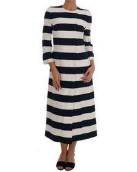Dolce & Gabbana - Blue White Striped Stretch Coat - Lyst