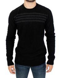 CoSTUME NATIONAL Black With A Grey Striped Crewneck Jumper - Crewneck Pullover