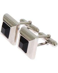 Dolce & Gabbana Silver Brass Black Stone Cufflinks - Metallic