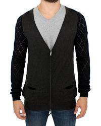 CoSTUME NATIONAL Zipper Cardigan Jumper - Grey And Black