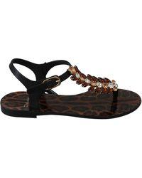 Dolce & Gabbana Black Rubber Crystal Sandals Flip Flops Shoes