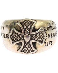 Nialaya Silver Crest 925 Sterling Ring - Metallic