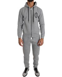 Billionaire Italian Couture Hooded Neck Full Zip Sports Sweater And Pants - Gray Tracksuit