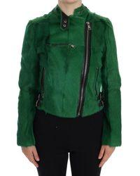 Dolce & Gabbana Green Lamb Goat Fur Jacket