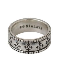 Nialaya Silver Sterling Cross Logo Authentic 925 Ring - Metallic