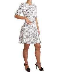 Dolce & Gabbana White Black Rose Print Rayon Mini Dress