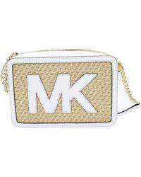 Michael Kors Straw Python Capsule Large Ew Crossbody Bag In Optic White