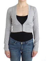 Cavalli Grey Cropped Wool Cardigan