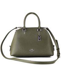 COACH Crossgrain Leather Katy Satchel Bag Cargo Green 93723