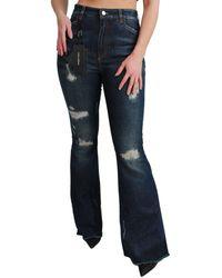 Dolce & Gabbana Blue Denim Cotton Stretch Flared Jeans