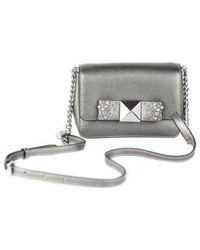 Michael Kors Tina Small Metallic Leather Clutch Crossbody Bag Handbag [dark Silver]