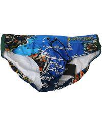 Dolce & Gabbana Blue Portocervo Beachwear Briefs Nylon Swimwear