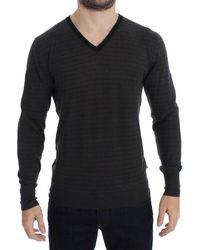 CoSTUME NATIONAL V-neck Jumper - Grey And Black Striped