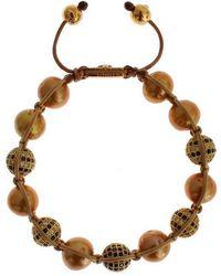 Nialaya Clear Cz Pearls Gold 925 Silver Bracelet - Metallic