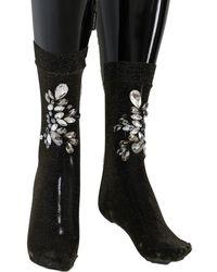 Dolce & Gabbana Black Stretch Floral Clear Crystal Socks