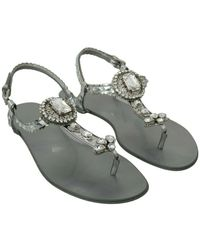 Dolce & Gabbana Silver Crystal Sandals Flip Flops Shoes - Metallic