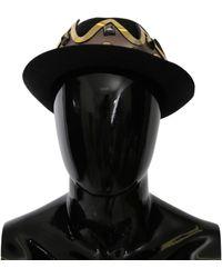 Dolce & Gabbana Crown Studs Fedora Wool Hat Black Hat20072