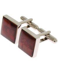 Dolce & Gabbana Silver Brass Square Red Stone Cufflinks - Multicolor