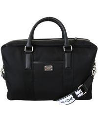 Dolce & Gabbana Black Leather Briefcase Messenger Shoulder Laptop Bag