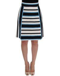 Dolce & Gabbana - White Black Blue Striped Cotton Skirt - Lyst