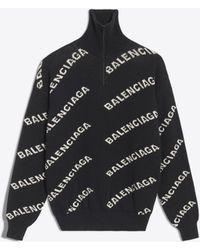 Balenciaga - Jersey cuello cisne jacquard logotipo - Lyst