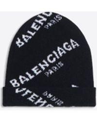 06b3a5a9fdc20 Balenciaga Jacquard Logo Beanie in Black - Lyst