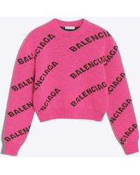 Balenciaga - Pullover girocollo con logo jacquard - Lyst