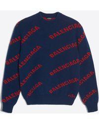 Balenciaga - Jersey cuello redondo logotipo jacquard - Lyst