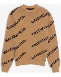 Balenciaga - Pull ras-du-cou Allover Logo - Lyst