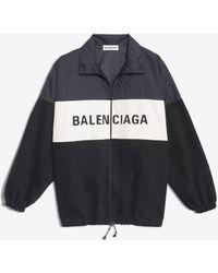Balenciaga - Chaqueta de denim y nailon con logotipo - Lyst