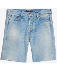 Balenciaga - Raw Finishing Denim Short Trousers - Lyst