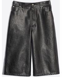 Balenciaga - Pantalón Capri de piel - Lyst