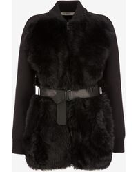 Bally - Belted Shearling Cardigan - Lyst