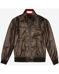 Bally Leather Bomber Jacket - Brown