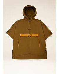 Bally Hooded Cape - Brown